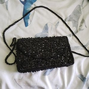 Black sequin and beaded purse